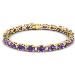 19.7 CTW Amethyst & VS/SI Certified Diamond Eternity Bracelet 10K Yellow Gold - REF-104K2R - 29359