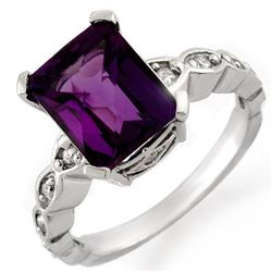 4.25 CTW Amethyst & Diamond Ring 18K White Gold - REF-57M3F - 10413