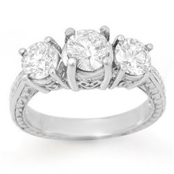 1.50 CTW Certified VS/SI Diamond 3 Stone Ring 18K White Gold - REF-255H3W - 13375