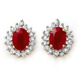 4.44 CTW Ruby & Diamond Earrings 14K Yellow Gold - REF-71X3T - 13018