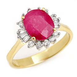 2.02 CTW Ruby & Diamond Ring 14K Yellow Gold - REF-47Y8N - 13725