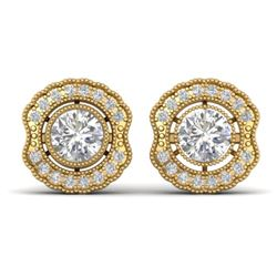 1.5 CTW Certified VS/SI Diamond Art Deco Stud Earrings 14K Yellow Gold - REF-196W2H - 30542