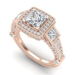 3 CTW Princess VS/SI Diamond Solitaire Art Deco 3 Stone Ring 18K Rose Gold - REF-563F6M - 37134
