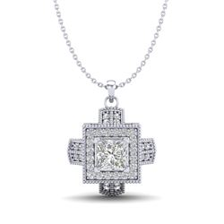 0.84 CTW Princess VS/SI Diamond Micro Pave Necklace 18K White Gold - REF-149M3F - 37190