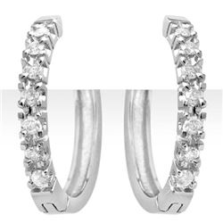 0.40 CTW Certified VS/SI Diamond Earrings 14K White Gold - REF-55M3F - 13859