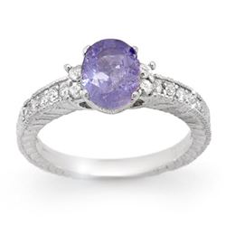 1.82 CTW Tanzanite & Diamond Ring 14K White Gold - REF-62W2H - 14251