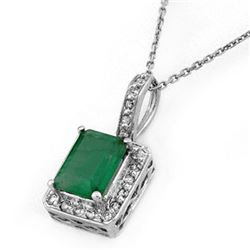 1.75 CTW Emerald & Diamond Necklace 14K White Gold - REF-39K5R - 10203