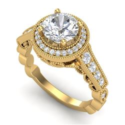 1.91 CTW VS/SI Diamond Solitaire Art Deco Ring 18K Yellow Gold - REF-543H6W - 36976