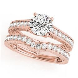 1.67 CTW Certified VS/SI Diamond Solitaire 2Pc Wedding Set 14K Rose Gold - REF-388N2Y - 31671