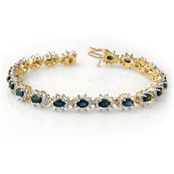 12.0 CTW Blue Sapphire & Diamond Bracelet 14K Yellow Gold - REF-327N3Y - 14443
