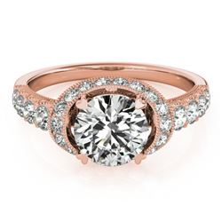 1.75 CTW Certified VS/SI Diamond Solitaire Halo Ring 18K Rose Gold - REF-420F2M - 27025