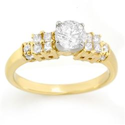 1.0 CTW Certified VS/SI Diamond Ring 14K 2-Tone Gold - REF-137W6H - 11626