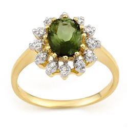 1.62 CTW Green Tourmaline & Diamond Ring 10K Yellow Gold - REF-34N9Y - 11074