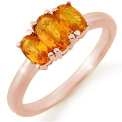 1.18 CTW Orange Sapphire Ring 14K Rose Gold - REF-28N9Y - 10463