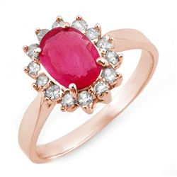 1.27 CTW Ruby & Diamond Ring 14K Rose Gold - REF-39T3X - 10095