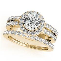 1 CTW Certified VS/SI Diamond 2Pc Wedding Set Solitaire Halo 14K Yellow Gold - REF-150Y8N - 31132