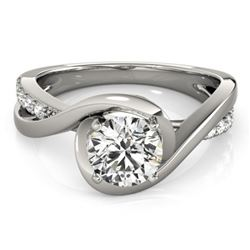 0.90 CTW Certified VS/SI Diamond Solitaire Ring 18K White Gold - REF-206F8M - 27453