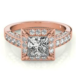 2.1 CTW Certified VS/SI Princess Diamond Solitaire Halo Ring 18K Rose Gold - REF-309W6H - 27172