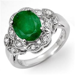 2.75 CTW Emerald & Diamond Ring 18K White Gold - REF-66F2M - 11907
