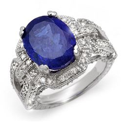 8.50 CTW Tanzanite & Diamond Ring 18K White Gold - REF-366R4K - 10997