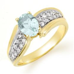 1.20 CTW Aquamarine & Diamond Ring 10K Yellow Gold - REF-46H4W - 14520