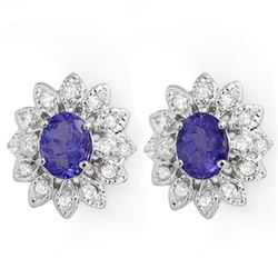 3.70 CTW Tanzanite & Diamond Earrings 14K White Gold - REF-108X8T - 14043