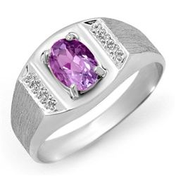 2.0 CTW Amethyst Ring 18K White Gold - REF-51F8M - 12427