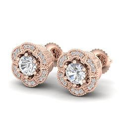 1.51 CTW VS/SI Diamond Solitaire Art Deco Stud Earrings 18K Rose Gold - REF-263W6H - 37107