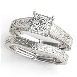 1 CTW Certified VS/SI Princess Diamond 2Pc Set Solitaire Wedding 14K White Gold - REF-347X5T - 32084