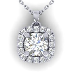 1.01 CTW Certified VS/SI Diamond Stud Halo Necklace 14K White Gold - REF-169R3K - 30423