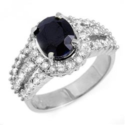 4.70 CTW Blue Sapphire & Diamond Ring 18K White Gold - REF-134F9M - 13096