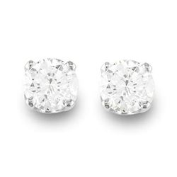 0.50 CTW Certified VS/SI Diamond Solitaire Stud Earrings 14K White Gold - REF-50T9X - 13529