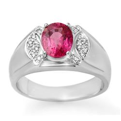 3.15 CTW Pink Sapphire & Diamond Mens Ring 10K White Gold - REF-60K2R - 13414