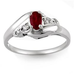 0.49 CTW Ruby & Diamond Ring Solid 18K White Gold - REF-30X4T - 10318