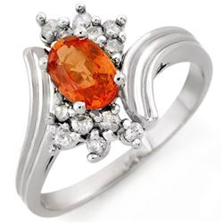 1.0 CTW Orange Sapphire & Diamond Ring 18K White Gold - REF-44M4F - 10368