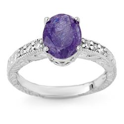 2.68 CTW Tanzanite & Diamond Ring 18K White Gold - REF-68F8M - 13915