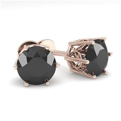 2.0 CTW Black Certified Diamond Stud Solitaire Earrings 18K Rose Gold - REF-64N8Y - 35849