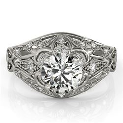 0.87 CTW Certified VS/SI Diamond Solitaire Antique Ring 18K White Gold - REF-145H3W - 27333
