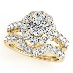 3.11 CTW Certified VS/SI Diamond 2Pc Wedding Set Solitaire Halo 14K Yellow Gold - REF-302T2X - 30821