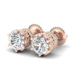 2.04 CTW VS/SI Diamond Solitaire Art Deco Stud Earrings 18K Rose Gold - REF-361N8Y - 37242
