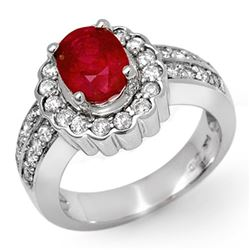2.25 CTW Ruby & Diamond Ring 14K White Gold - REF-90N9Y - 11919