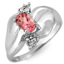 0.54 CTW Pink Tourmaline & Diamond Ring 18K White Gold - REF-48K2R - 11259