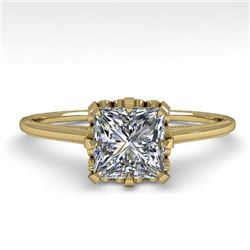 1.0 CTW VS/SI Princess Diamond Solitaire Engagement Ring 18K Yellow Gold - REF-283X5T - 35752