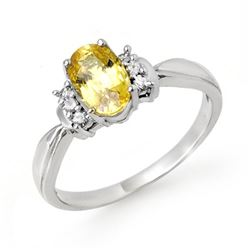 1.40 CTW Yellow Sapphire & Diamond Ring 18K White Gold - REF-41K8R - 14073