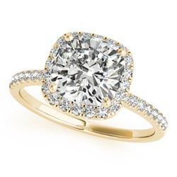 1.33 CTW Certified VS/SI Cushion Diamond Solitaire Halo Ring 18K Yellow Gold - REF-440K2R - 27212