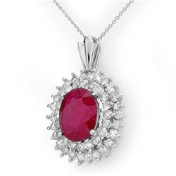 10.81 CTW Ruby & Diamond Pendant 18K White Gold - REF-263H6W - 12987