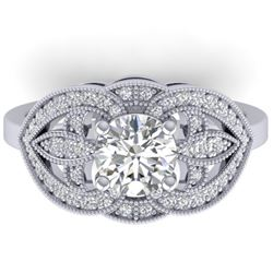 1.5 CTW Certified VS/SI Diamond Art Deco Micro Ring 14K White Gold - REF-376R2K - 30510