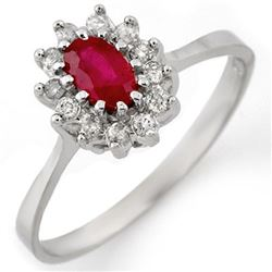 0.60 CTW Ruby & Diamond Ring 18K White Gold - REF-35T6X - 11214