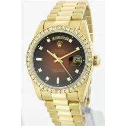 Rolex Men's 18K Yellow President, QuickSet, Diamond Dial & Diamond Bezel - REF-1232N7F