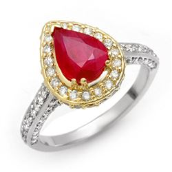 3.10 CTW Ruby & Diamond Ring 14K 2-Tone Gold - REF-89H5W - 10701